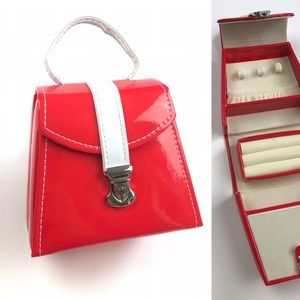 Mini Jewelry Box Bag Purse Patent Vinyl Red White